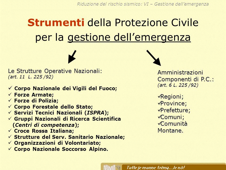 Strumenti della Protezione Civile per la gestione dellemergenza Le Strutture Operative Nazionali: (art. 11 L. 225 /92) Corpo Nazionale dei Vigili del