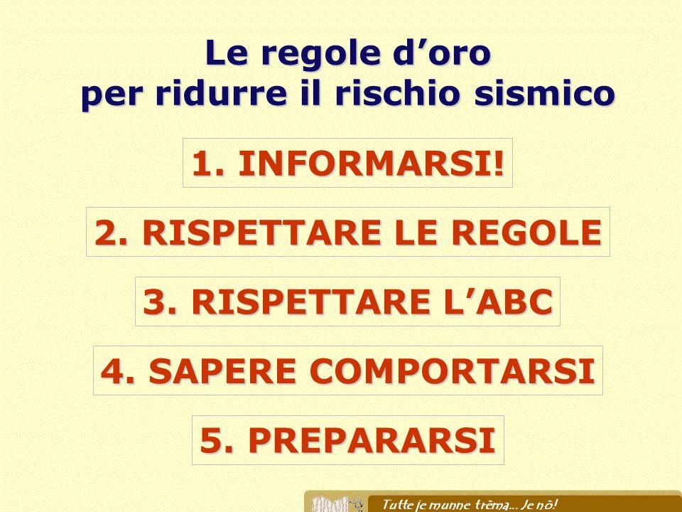 2. RISPETTARE LE REGOLE 1. INFORMARSI! 3. RISPETTARE LABC 4. SAPERE COMPORTARSI 5. PREPARARSI Le regole doro per ridurre il rischio sismico