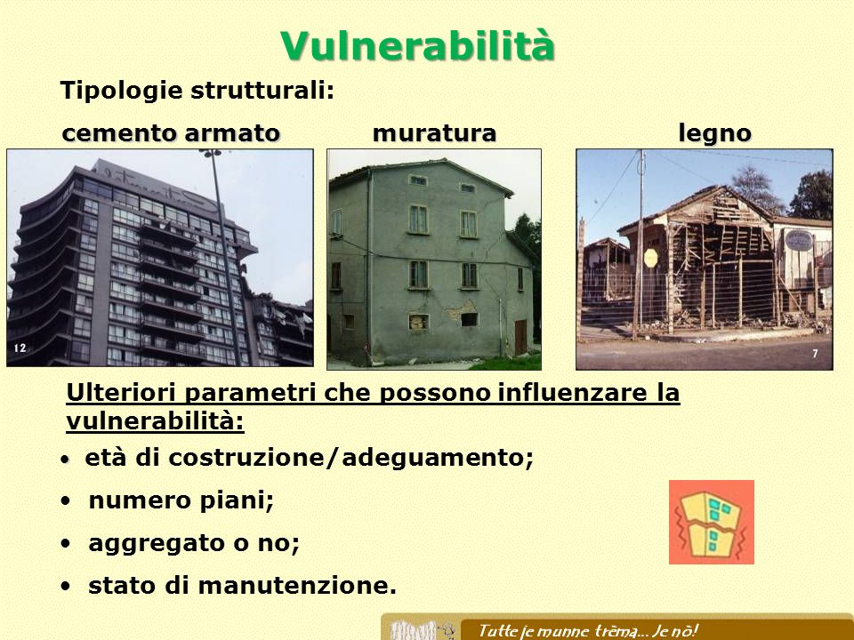 cemento armato muratura Tipologie strutturali: età di costruzione/adeguamento; numero piani; aggregato o no; stato di manutenzione. Ulteriori parametr