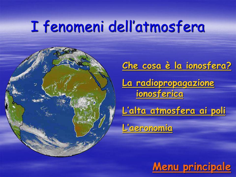 I fenomeni dellatmosfera Che cosa è la ionosfera? Che cosa è la ionosfera? La radiopropagazione ionosferica La radiopropagazione ionosferica Lalta atm