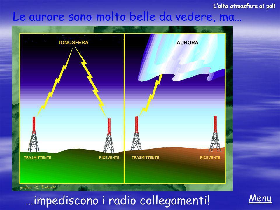 Le aurore sono molto belle da vedere, ma… Menu Lalta atmosfera ai poli …impediscono i radio collegamenti!