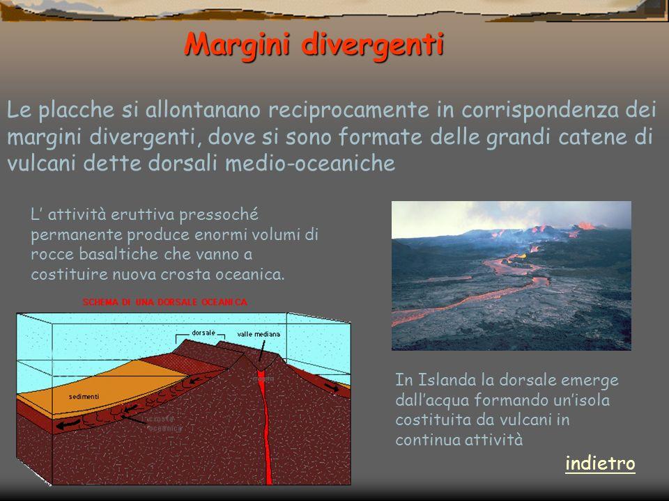 Margini divergenti Margini divergenti Le placche si allontanano reciprocamente in corrispondenza dei margini divergenti, dove si sono formate delle gr