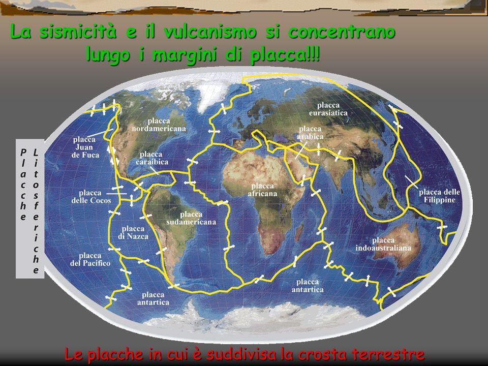 Le placche in cui è suddivisa la crosta terrestre La sismicità e il vulcanismo si concentrano lungo i margini di placca!!!