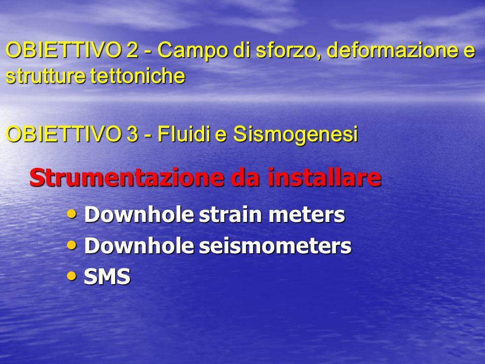 Strumentazione da installare Downhole strain meters Downhole strain meters Downhole seismometers Downhole seismometers SMS SMS OBIETTIVO 2 - Campo di sforzo, deformazione e strutture tettoniche OBIETTIVO 3 - Fluidi e Sismogenesi