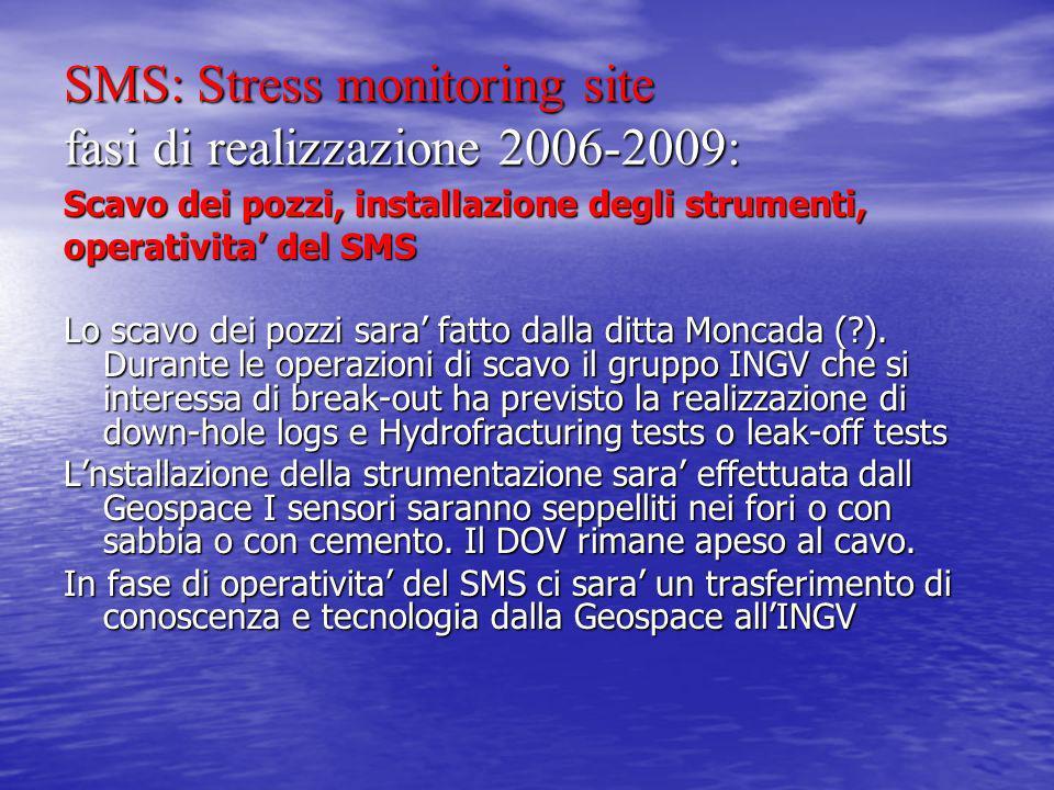SMS: Stress monitoring site fasi di realizzazione 2006-2009: Scavo dei pozzi, installazione degli strumenti, operativita del SMS Lo scavo dei pozzi sara fatto dalla ditta Moncada (?).