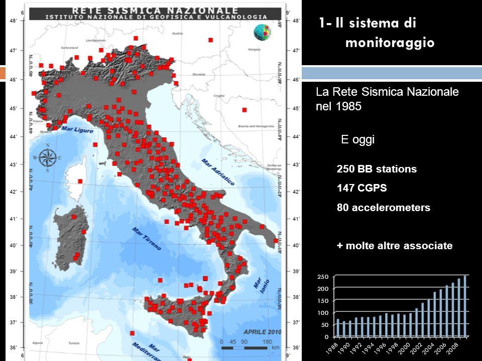La Rete Sismica Nazionale nel 1985 E oggi 250 BB stations 147 CGPS 80 accelerometers + molte altre associate 1- Il sistema di monitoraggio