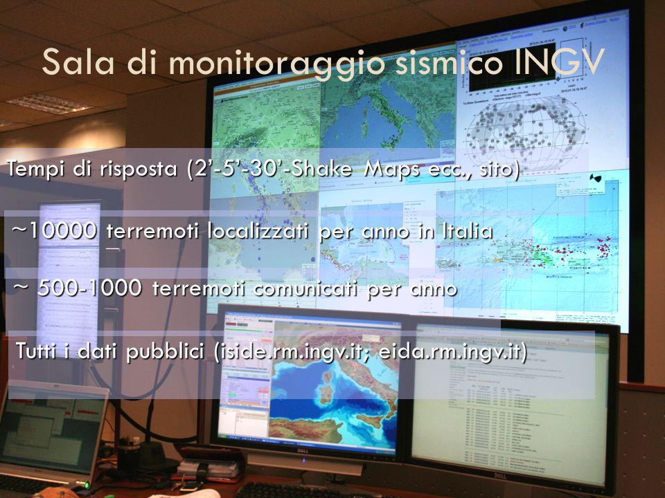 Sala di monitoraggio sismico INGV Tempi di risposta (2-5-30-Shake Maps ecc., sito) ~10000 terremoti localizzati per anno in Italia ~ 500-1000 terremot