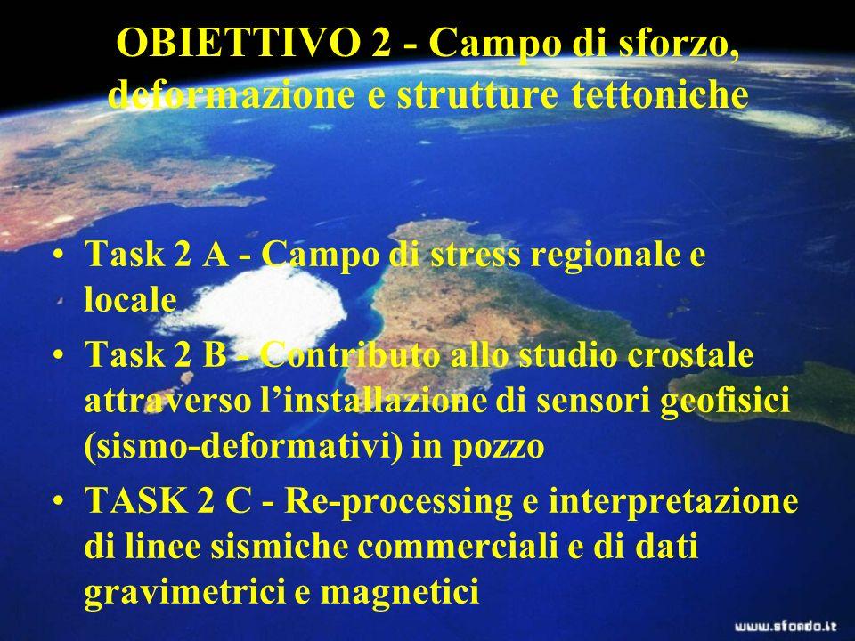OBIETTIVO 2 - Campo di sforzo, deformazione e strutture tettoniche Task 2 A - Campo di stress regionale e locale Task 2 B - Contributo allo studio crostale attraverso linstallazione di sensori geofisici (sismo-deformativi) in pozzo TASK 2 C - Re-processing e interpretazione di linee sismiche commerciali e di dati gravimetrici e magnetici