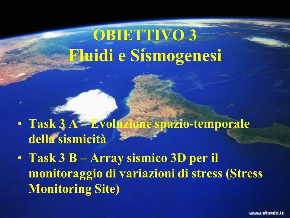 OBIETTIVO 3 Fluidi e Sismogenesi Task 3 A – Evoluzione spazio-temporale della sismicità Task 3 B – Array sismico 3D per il monitoraggio di variazioni di stress (Stress Monitoring Site)