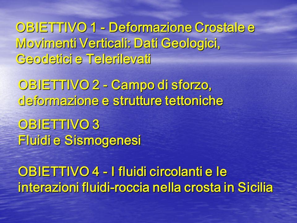 OBIETTIVO 1 - Deformazione Crostale e Movimenti Verticali: Dati Geologici, Geodetici e Telerilevati OBIETTIVO 2 - Campo di sforzo, deformazione e stru