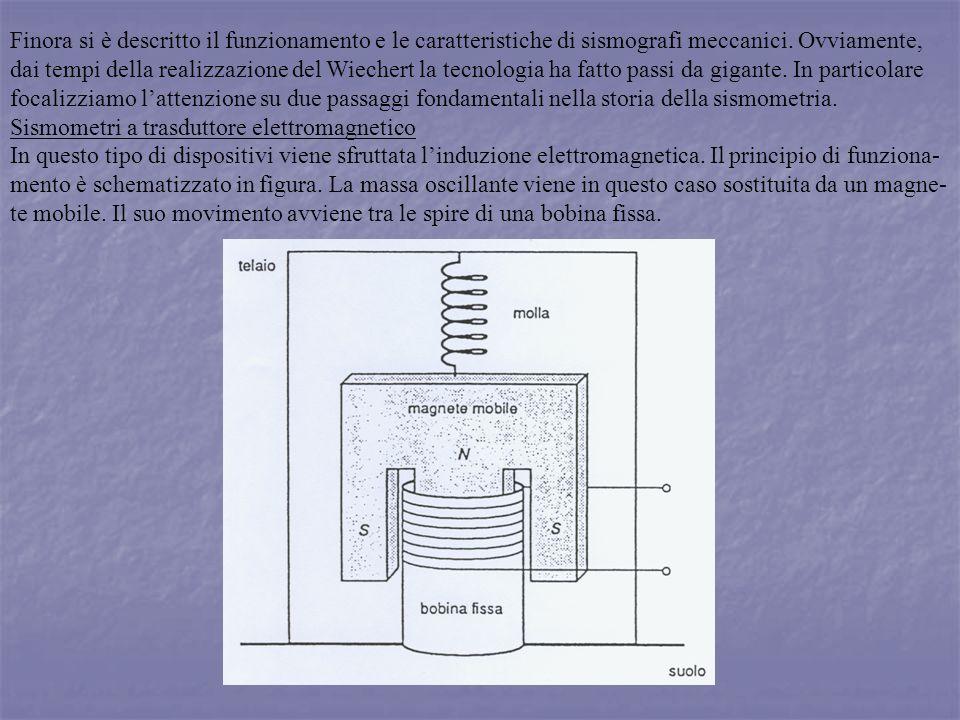 Finora si è descritto il funzionamento e le caratteristiche di sismografi meccanici. Ovviamente, dai tempi della realizzazione del Wiechert la tecnolo