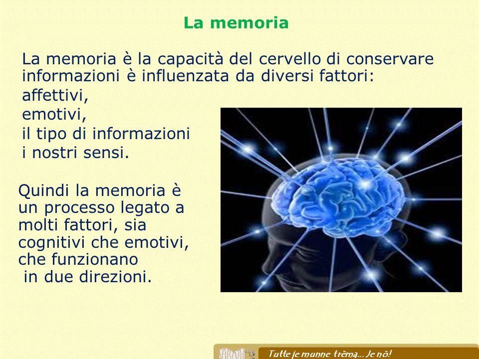La memoria La memoria è la capacità del cervello di conservare informazioni è influenzata da diversi fattori: affettivi, emotivi, il tipo di informazi