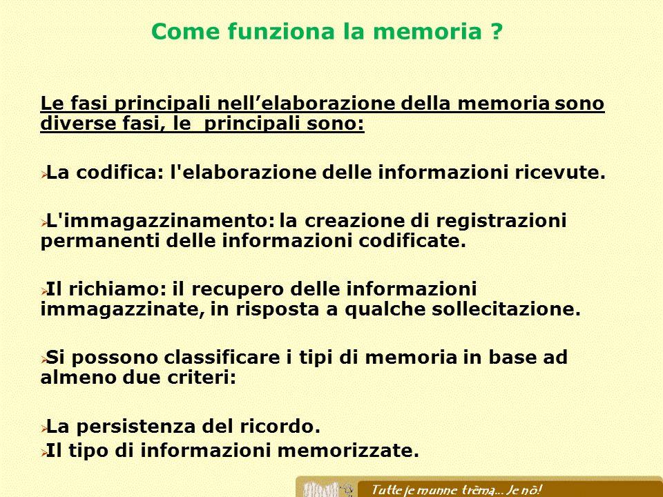 Come funziona la memoria ? Le fasi principali nellelaborazione della memoria sono diverse fasi, le principali sono: La codifica: l'elaborazione delle
