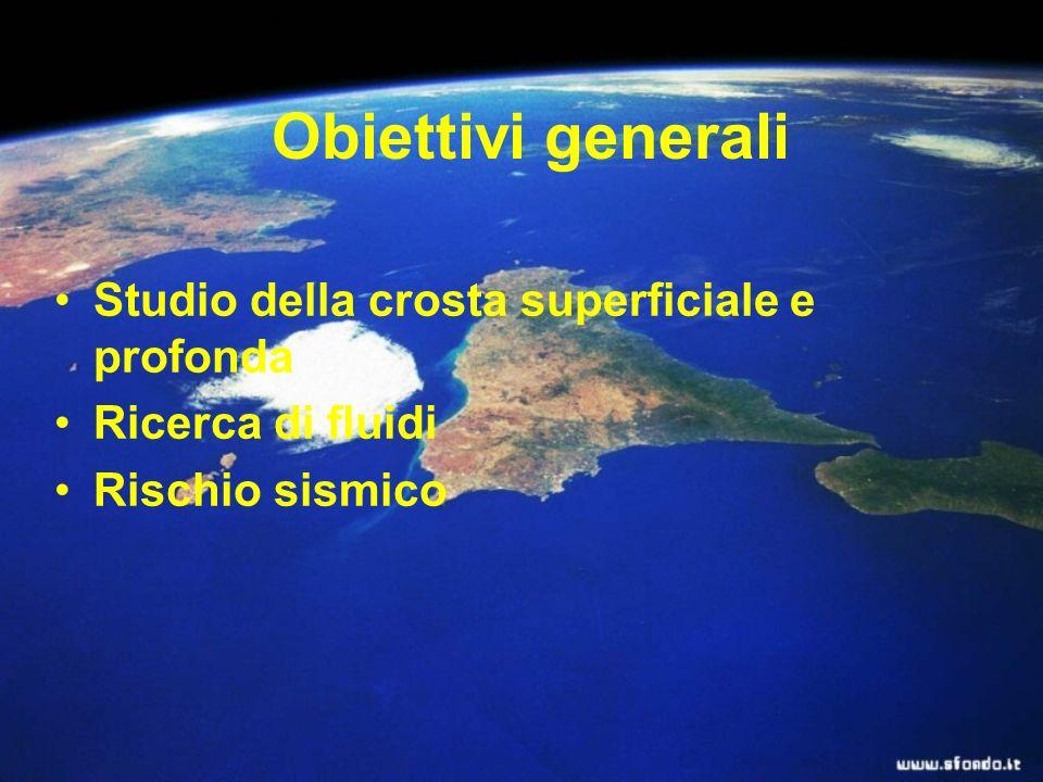 Obiettivi generali Studio della crosta superficiale e profonda Ricerca di fluidi Rischio sismico