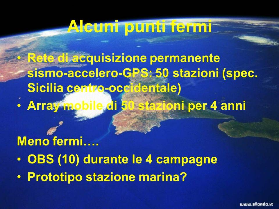 Alcuni punti fermi Rete di acquisizione permanente sismo-accelero-GPS: 50 stazioni (spec.