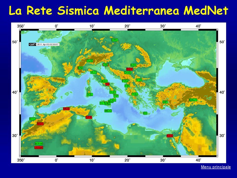 La Rete Sismica Mediterranea MedNet Menu principale
