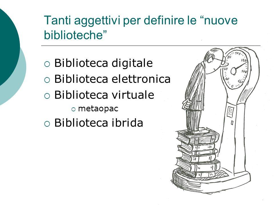 Tanti aggettivi per definire le nuove biblioteche Biblioteca digitale Biblioteca elettronica Biblioteca virtuale metaopac Biblioteca ibrida
