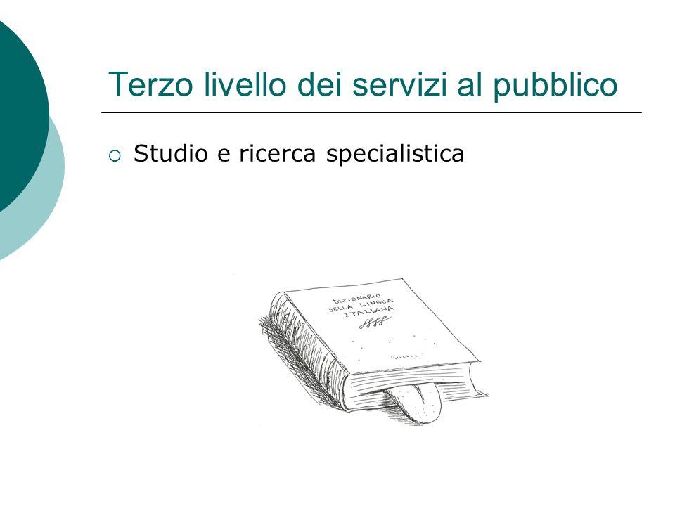 Terzo livello dei servizi al pubblico Studio e ricerca specialistica