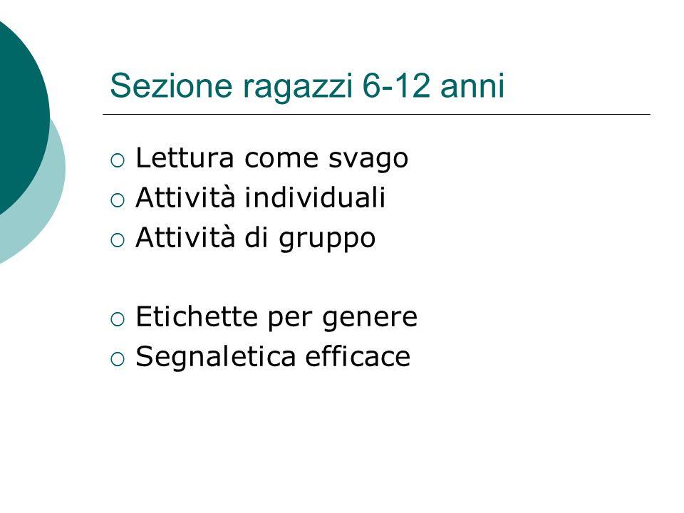 Sezione ragazzi 6-12 anni Lettura come svago Attività individuali Attività di gruppo Etichette per genere Segnaletica efficace