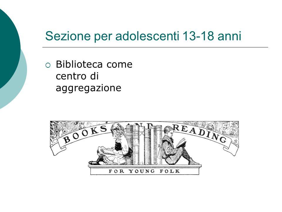 Sezione per adolescenti 13-18 anni Biblioteca come centro di aggregazione