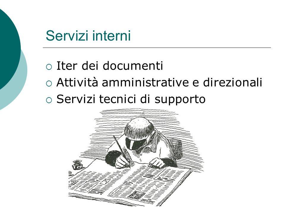 Servizi interni Iter dei documenti Attività amministrative e direzionali Servizi tecnici di supporto