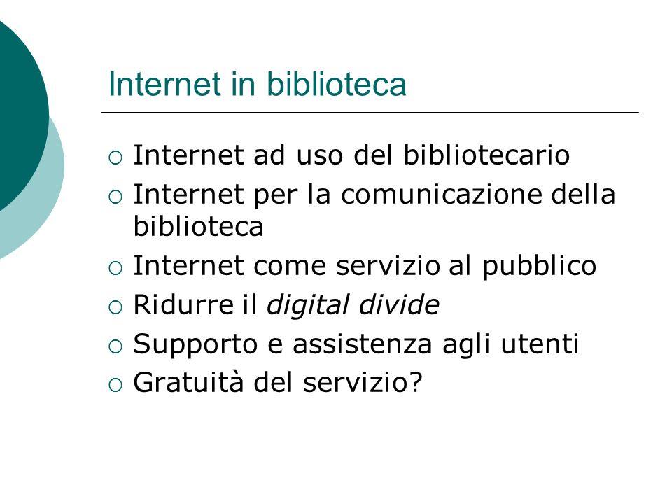 Internet in biblioteca Internet ad uso del bibliotecario Internet per la comunicazione della biblioteca Internet come servizio al pubblico Ridurre il digital divide Supporto e assistenza agli utenti Gratuità del servizio?