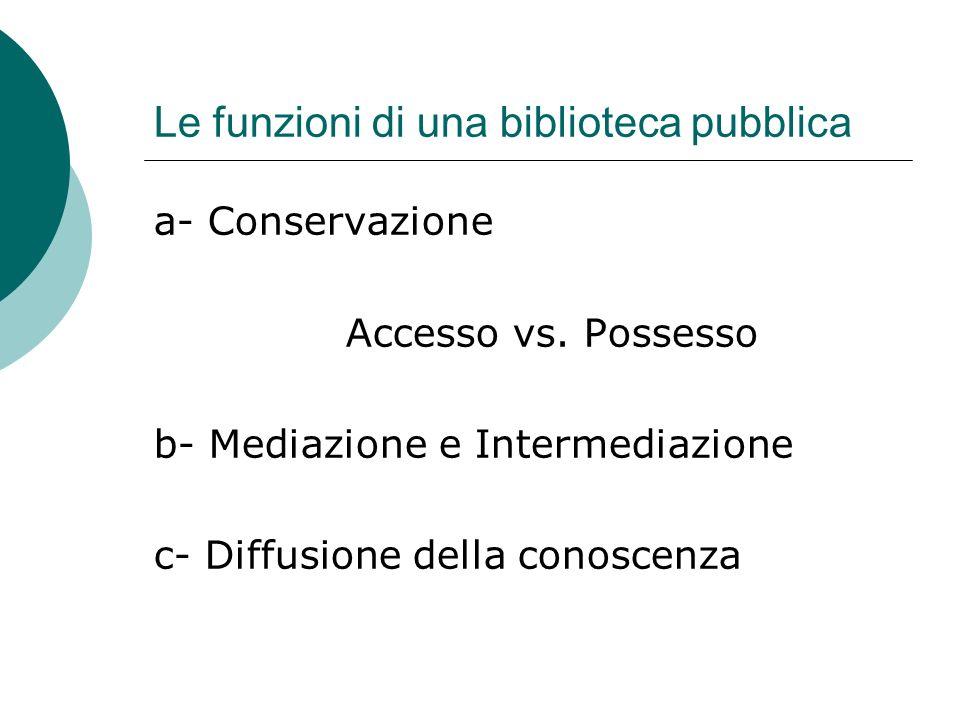 Le funzioni di una biblioteca pubblica a- Conservazione Accesso vs. Possesso b- Mediazione e Intermediazione c- Diffusione della conoscenza