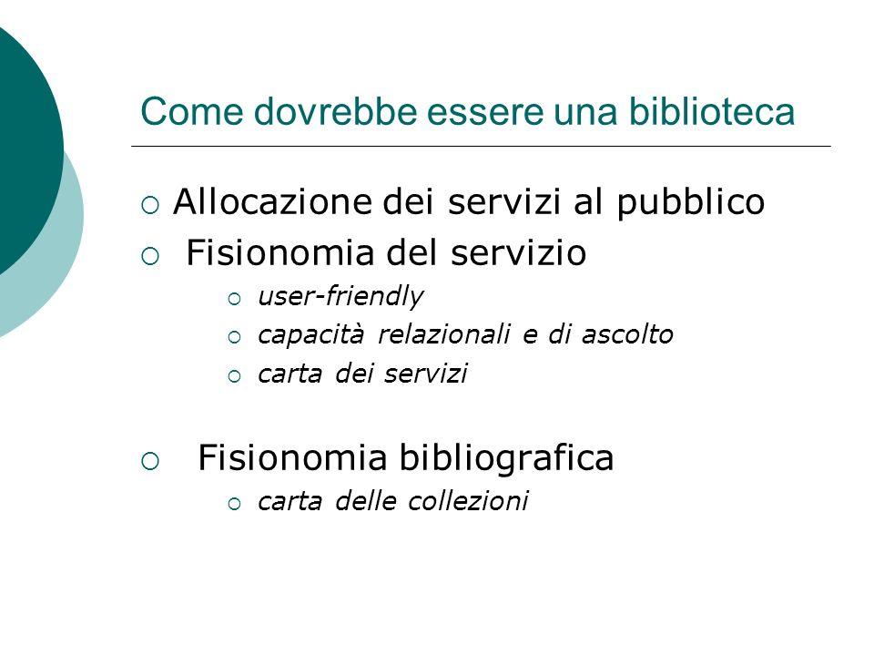 Come dovrebbe essere una biblioteca Allocazione dei servizi al pubblico Fisionomia del servizio user-friendly capacità relazionali e di ascolto carta dei servizi Fisionomia bibliografica carta delle collezioni