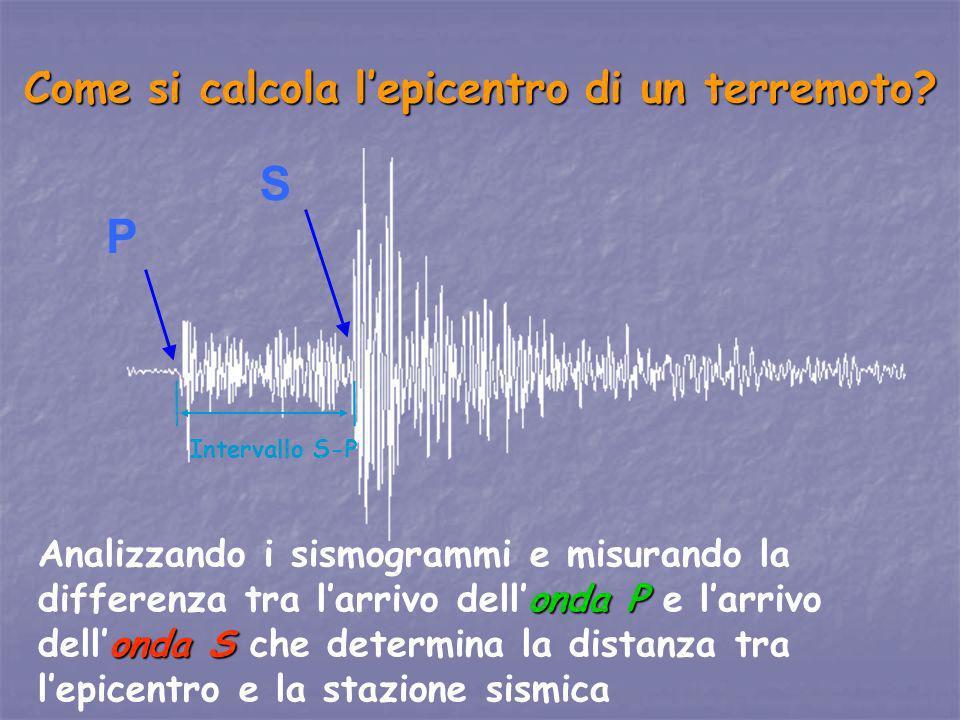 S P Come si calcola lepicentro di un terremoto? onda P onda S Analizzando i sismogrammi e misurando la differenza tra larrivo dellonda P e larrivo del
