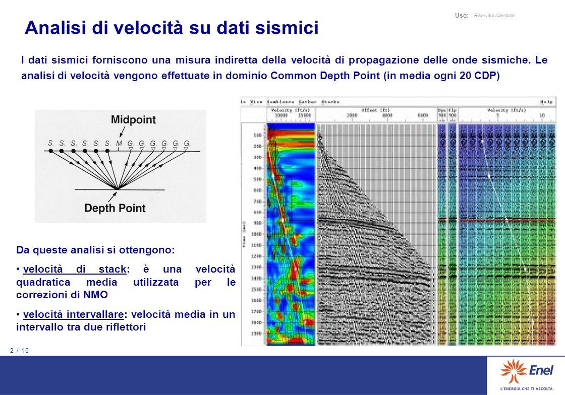 12 / 10 Uso: Riservato aziendale Le analisi di velocità sono riferite al floating datum Il floating datum è una superficie che si utilizza nel processing pre-NMO e approssima la topografia Maggiormente accidentata è la topografia, maggiore è la differenza tra le due curve NON E DIRETTAMENTE DISPONIBILE PER CIASCUN CDP IL VALORE DELLE QUOTE DEL FLOATING DATUM Valutiamo un possibile incertezza della quota di riferimento di ciascuna analisi di velocità non superiore a 300 m Questa incertezza può essere eliminata calcolando per ogni CDP la quota del floating datum Affidabilità