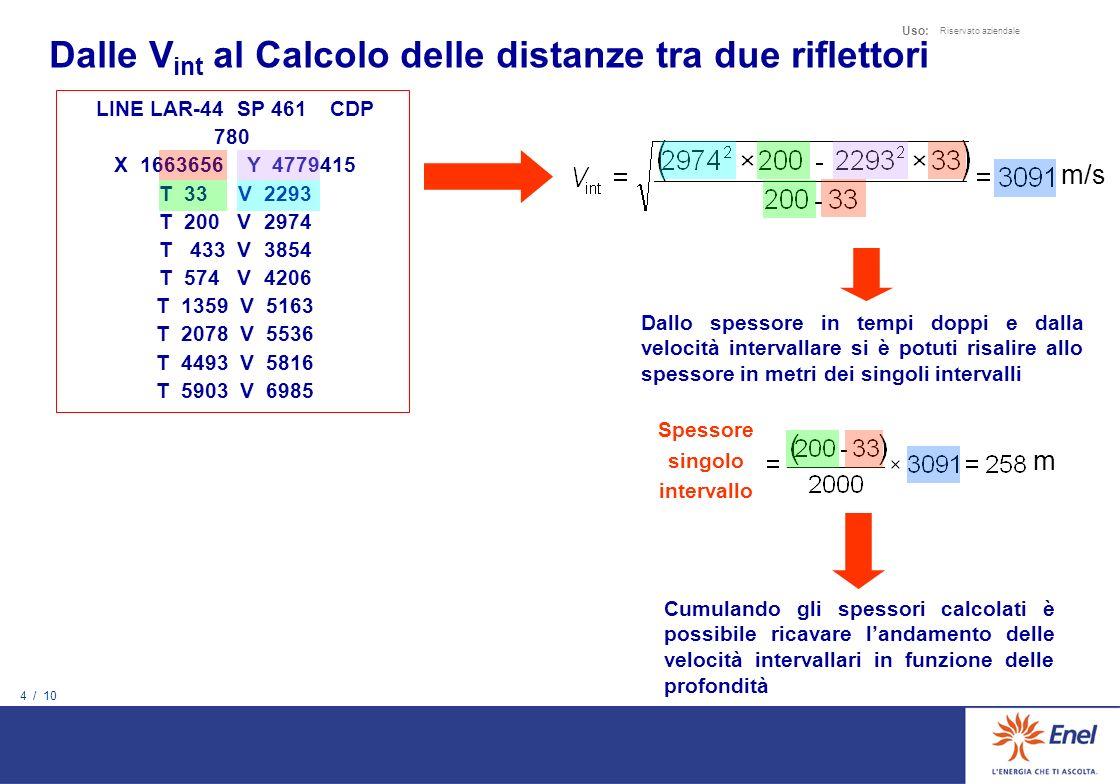 4 / 10 Uso: Riservato aziendale LINE LAR-44 SP 461 CDP 780 X 1663656 Y 4779415 T 33 V 2293 T 200 V 2974 T 433 V 3854 T 574 V 4206 T 1359 V 5163 T 2078 V 5536 T 4493 V 5816 T 5903 V 6985 Dallo spessore in tempi doppi e dalla velocità intervallare si è potuti risalire allo spessore in metri dei singoli intervalli Cumulando gli spessori calcolati è possibile ricavare landamento delle velocità intervallari in funzione delle profondità m/s Spessore singolo intervallo m Dalle V int al Calcolo delle distanze tra due riflettori