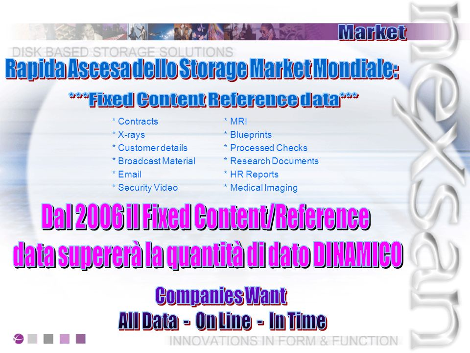 On-Line Random Access Off-Line Mount and Load Multi-User Everyone - Everything Right Now Single-User Single File and Wait RAID 5 or 6 Complete Redundancy No Single Point of Failure Multiple Single Points of Failure No Rebuild Capability Native File Format Immediate Data Access Mandatory No Option Restore
