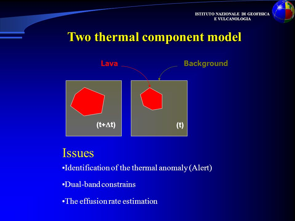ISTITUTO NAZIONALE DI GEOFISICA E VULCANOLOGIA (t+ t) (t) LavaBackground Two thermal component model Identification of the thermal anomaly (Alert) Dual-band constrains The effusion rate estimation Issues