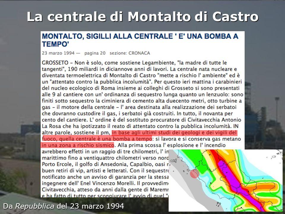 Istituto Nazionale di Geofisica e Vulcanologia La centrale di Montalto di Castro Da Repubblica del 23 marzo 1994