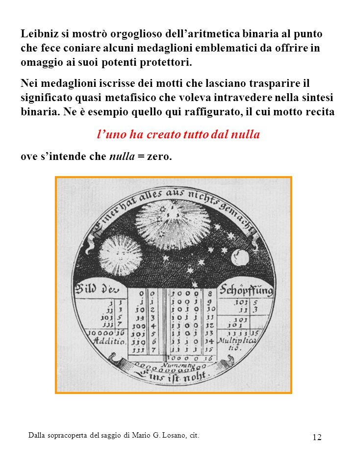 12 Leibniz si mostrò orgoglioso dellaritmetica binaria al punto che fece coniare alcuni medaglioni emblematici da offrire in omaggio ai suoi potenti p