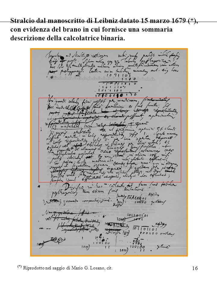 16 Stralcio dal manoscritto di Leibniz datato 15 marzo 1679 (*), con evidenza del brano in cui fornisce una sommaria descrizione della calcolatrice bi