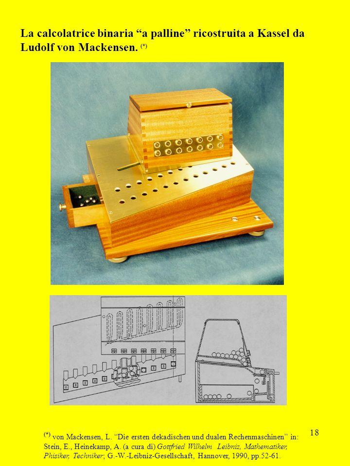 18 La calcolatrice binaria a palline ricostruita a Kassel da Ludolf von Mackensen. (*) (*) von Mackensen, L. Die ersten dekadischen und dualen Rechenm