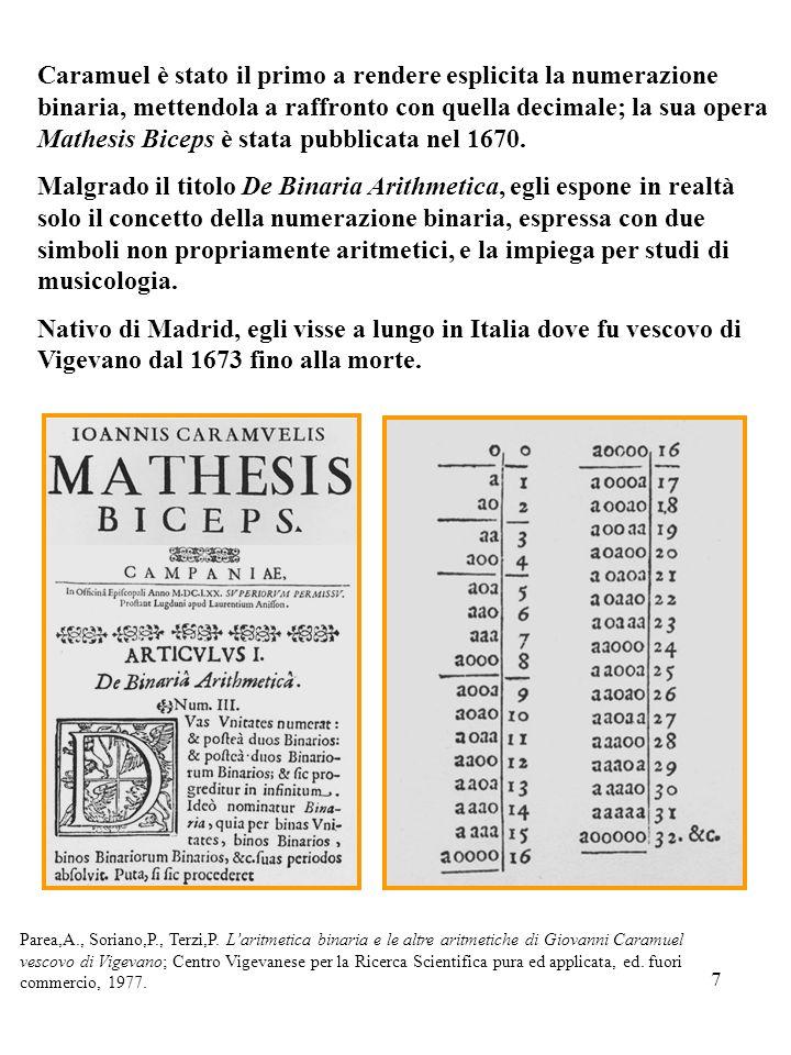 7 Caramuel è stato il primo a rendere esplicita la numerazione binaria, mettendola a raffronto con quella decimale; la sua opera Mathesis Biceps è sta