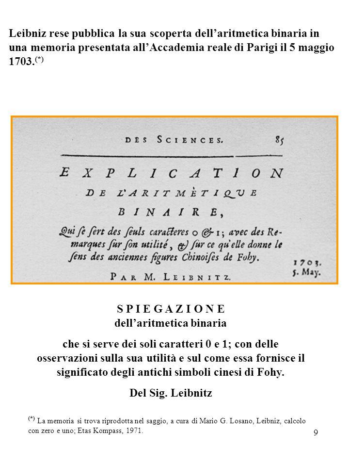9 Leibniz rese pubblica la sua scoperta dellaritmetica binaria in una memoria presentata allAccademia reale di Parigi il 5 maggio 1703. (*) (*) La mem