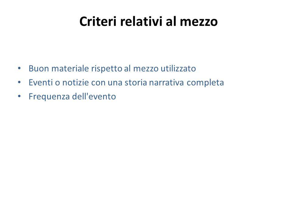 Criteri relativi al mezzo Buon materiale rispetto al mezzo utilizzato Eventi o notizie con una storia narrativa completa Frequenza dell'evento
