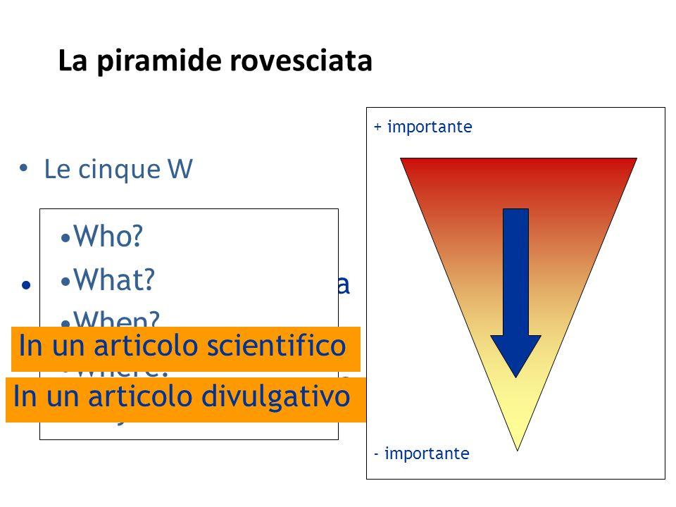 La piramide rovesciata Le cinque W La piramide rovesciata La coda della lucertola Who? What? When? Where? Why? - importante + importante In un articol