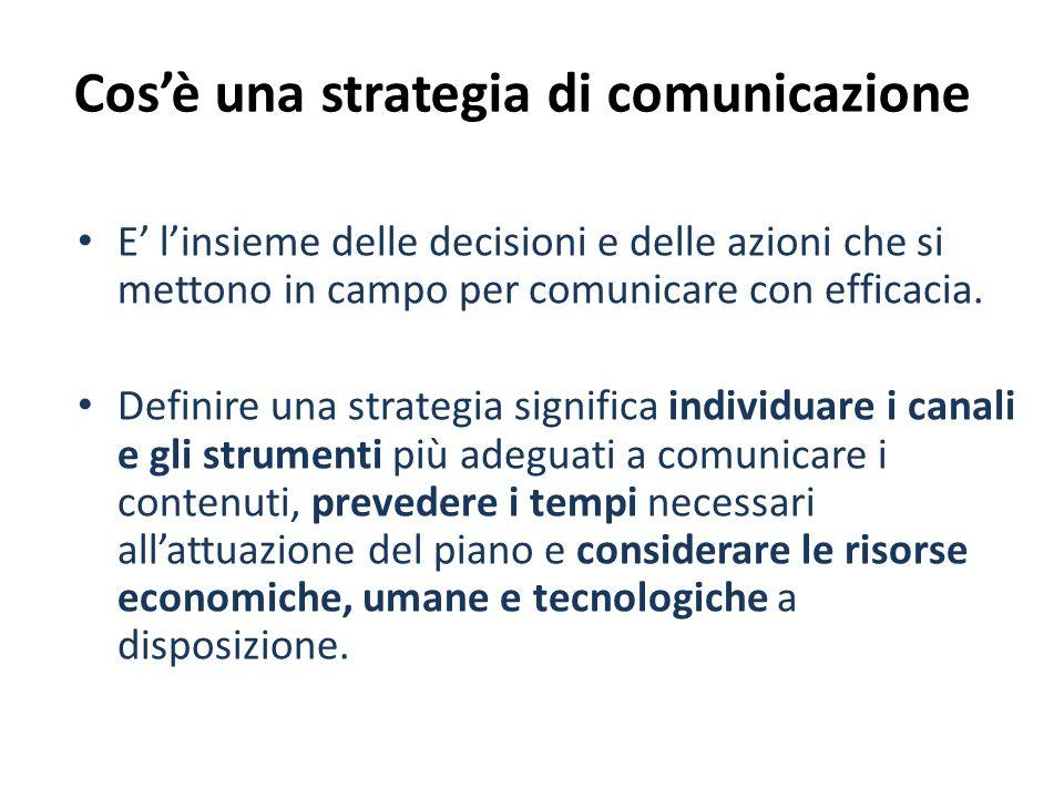 Cosè una strategia di comunicazione E linsieme delle decisioni e delle azioni che si mettono in campo per comunicare con efficacia. Definire una strat
