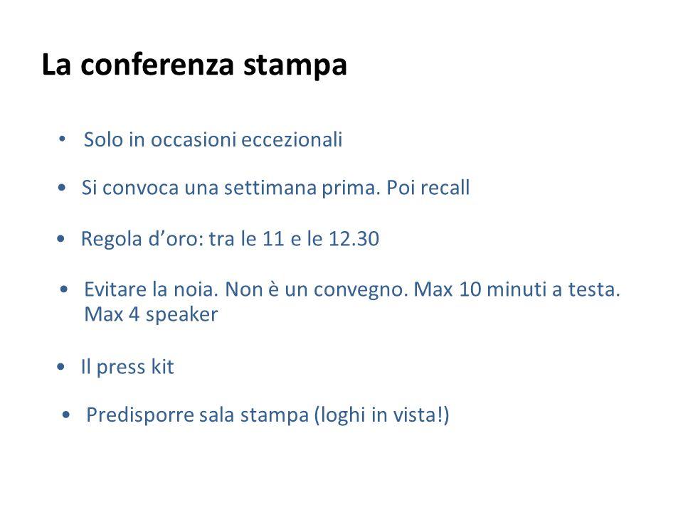 La conferenza stampa Solo in occasioni eccezionali Evitare la noia. Non è un convegno. Max 10 minuti a testa. Max 4 speaker Il press kit Si convoca un