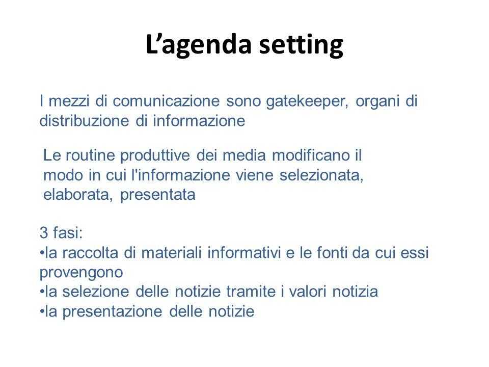 Lagenda setting 3 fasi: la raccolta di materiali informativi e le fonti da cui essi provengono la selezione delle notizie tramite i valori notizia la