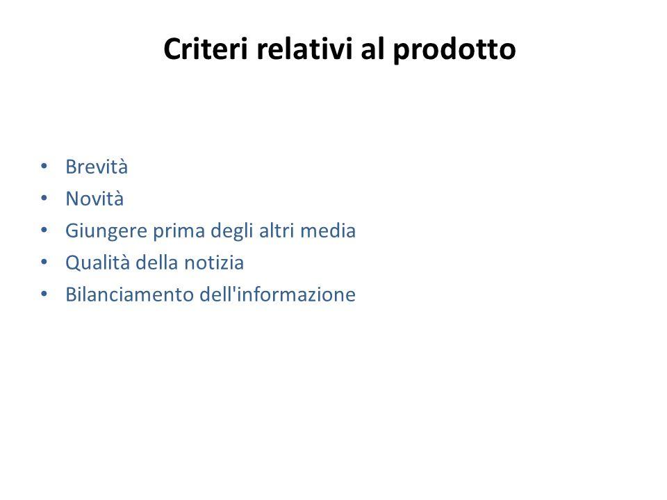 Criteri relativi al prodotto Brevità Novità Giungere prima degli altri media Qualità della notizia Bilanciamento dell'informazione