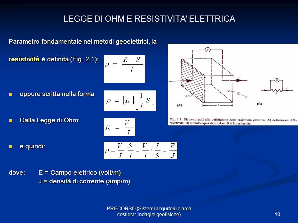 10 PRECORSO (Sistemi acquiferi in area costiera: indagini geofisiche) LEGGE DI OHM E RESISTIVITA' ELETTRICA Parametro fondamentale nei metodi geoelett