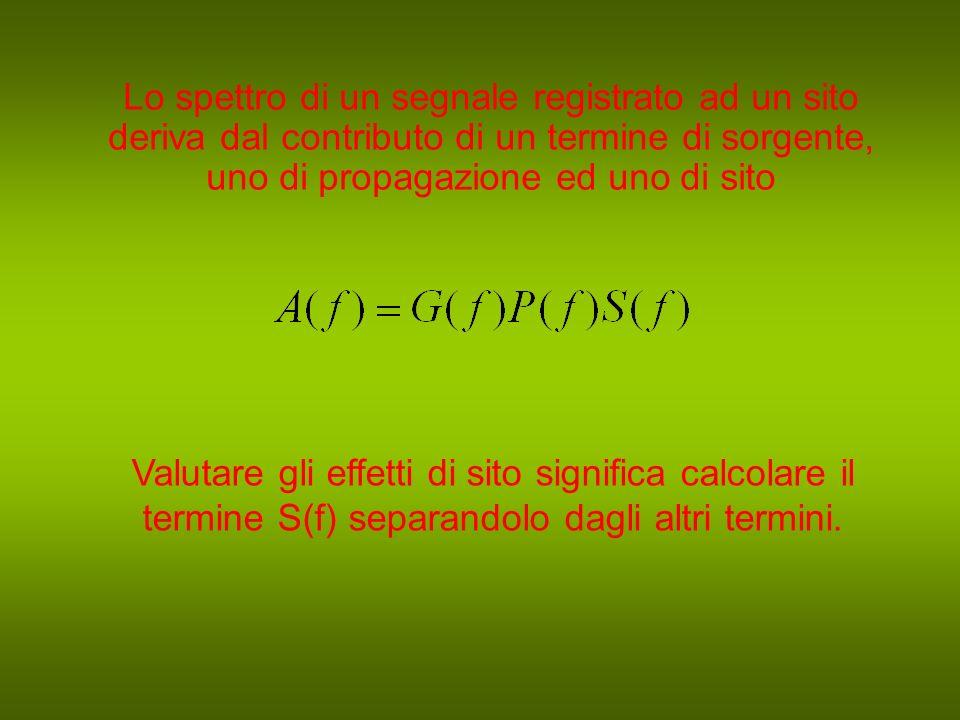 Lo spettro di un segnale registrato ad un sito deriva dal contributo di un termine di sorgente, uno di propagazione ed uno di sito Valutare gli effetti di sito significa calcolare il termine S(f) separandolo dagli altri termini.