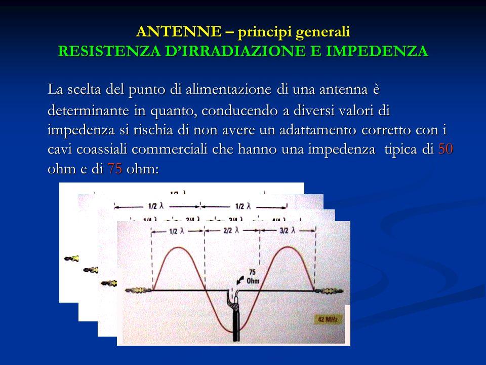 La scelta del punto di alimentazione di una antenna è determinante in quanto, conducendo a diversi valori di impedenza si rischia di non avere un adat