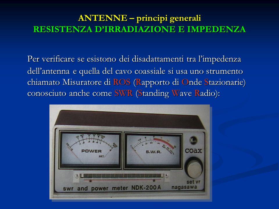Per verificare se esistono dei disadattamenti tra limpedenza dellantenna e quella del cavo coassiale si usa uno strumento chiamato Misuratore di ROS (
