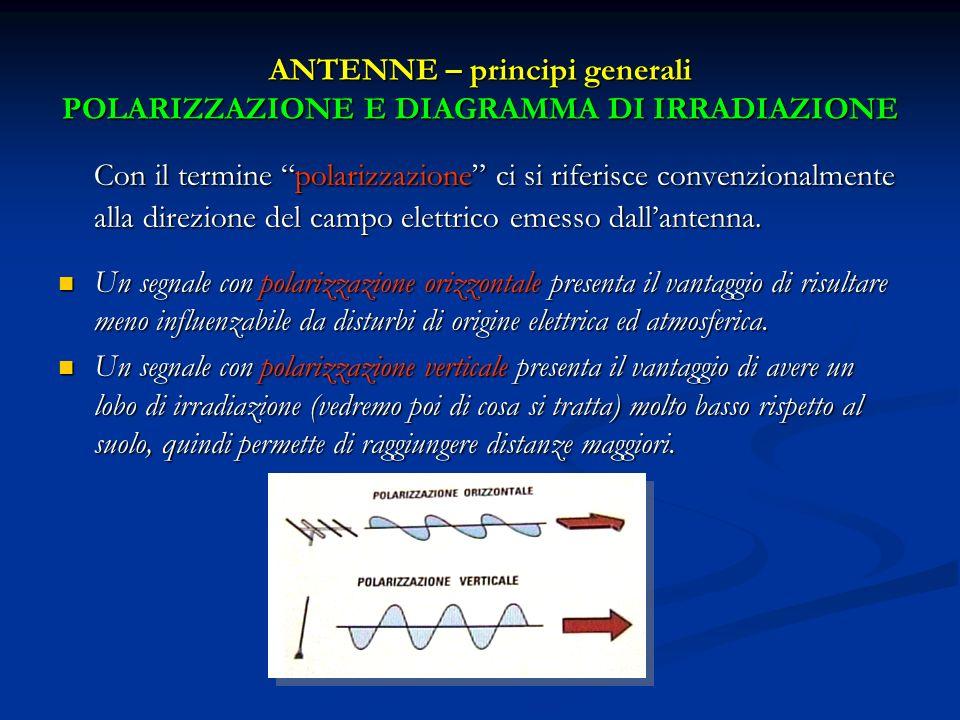 ANTENNE – principi generali POLARIZZAZIONE E DIAGRAMMA DI IRRADIAZIONE Con il termine polarizzazione ci si riferisce convenzionalmente alla direzione